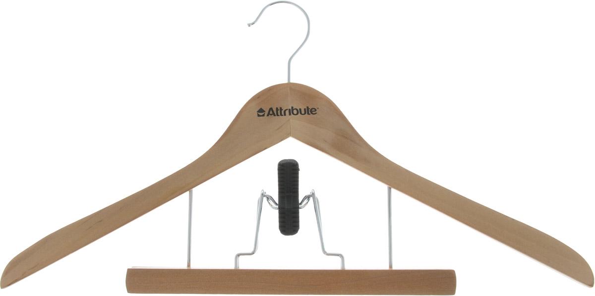 Вешалка для костюма Attribute Hanger, с деревянным зажимом для брюк, цвет: бежевый, длина 44 смAHN251Вешалка для костюма Attribute Hanger выполнена из дерева со стальным крючком. Деревянный зажим для брюк располагается на металлических креплениях и имеет специальные накладки, чтобы не повредить ткань. Длина вешалки: 44 см.