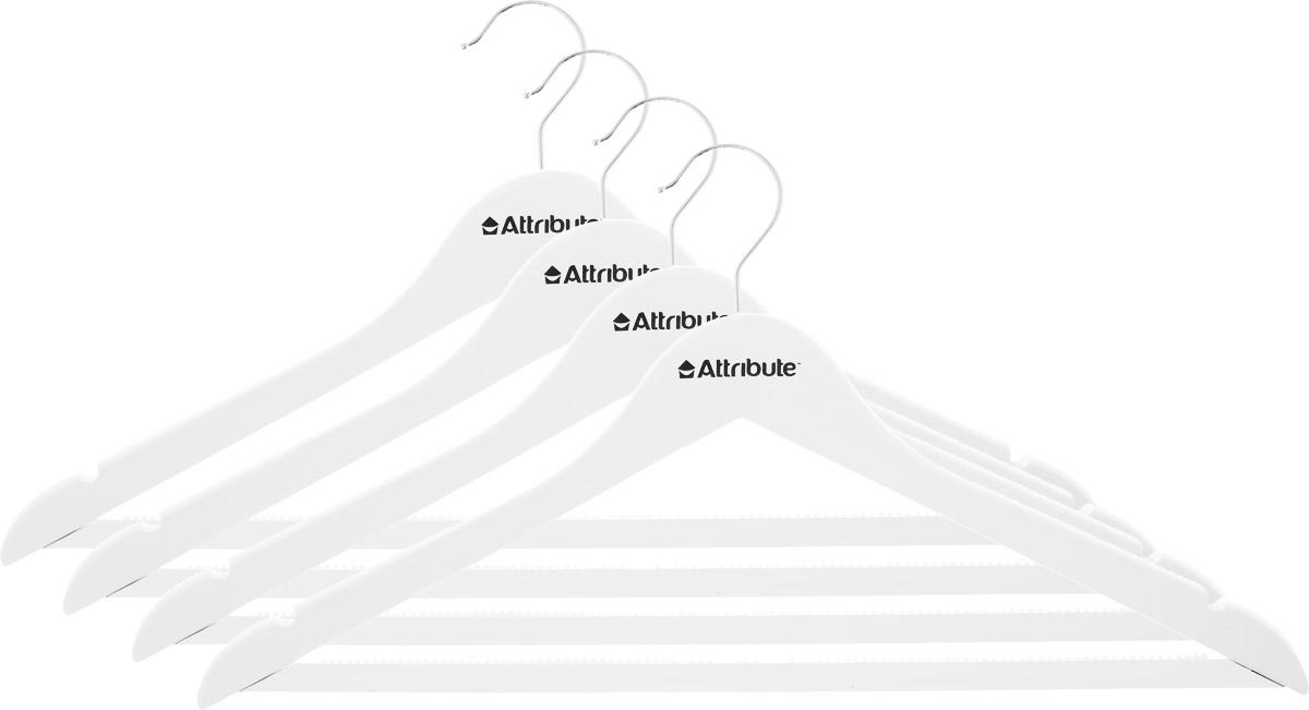 Набор вешалок для одежды Attribute Hanger Siluet, цвет: белый, 4 штAHP234Набор Attribute Hanger Siluet состоит из 4 вешалок для одежды, выполненных из стали и дерева. Изделия оснащены перекладинами с нескользящим ПВХ-покрытием и двумя выемками. Вешалка - это незаменимая вещь для того, чтобы ваша одежда всегда оставалась в хорошем состоянии. Комплектация: 4 шт. Размер вешалки: 44 х 22 х 1 см.