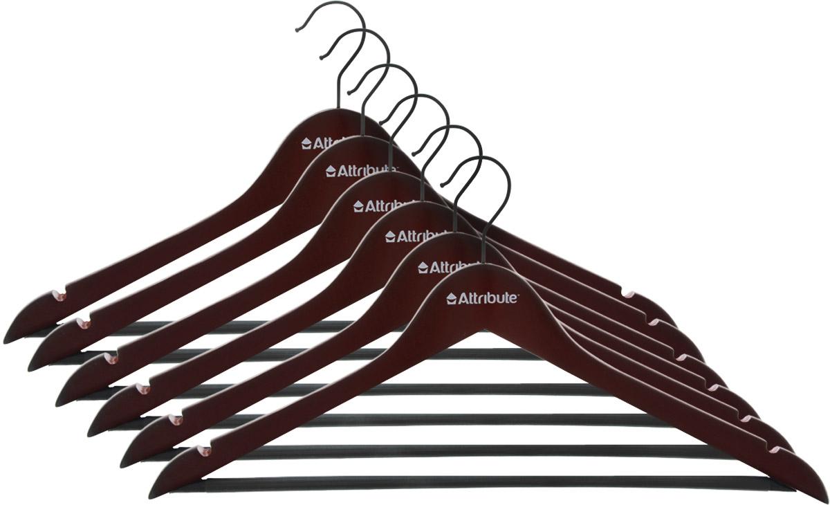 Набор вешалок для одежды Attribute Hanger Redwood, прямые, 6 штAHR156Набор Attribute Hanger Redwood состоит из 6 вешалок для одежды, выполненных из стали и дерева. Изделия оснащены перекладинами с нескользящим ПВХ-покрытием и двумя выемками. Вешалка - это незаменимая вещь для того, чтобы ваша одежда всегда оставалась в хорошем состоянии. Комплектация: 6 шт. Размер вешалки: 44 х 22 х 1 см.
