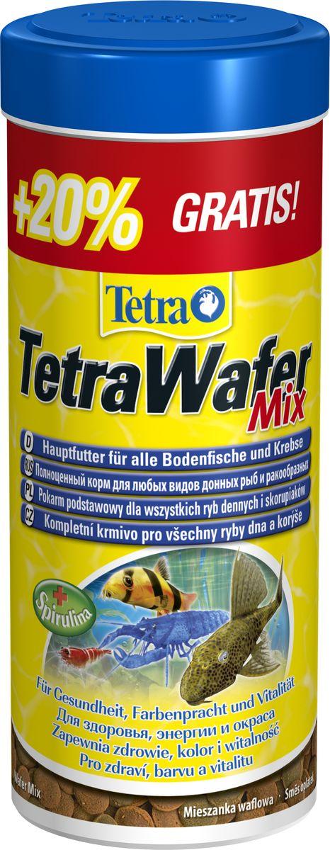 Корм Tetra TetraWaferMix, для всех донных рыб, чипсы, 300 мл198890АTetraWaferMix - Смесь основного корма для травоядных, хищных и донных рыб с добавлением креветок. зеленые пластинки из водорослей спирулины предназначены для травоядных донных рыб коричневые - идеальны для хищников благодаря плотному составу не загрязняют воды форма пластинок соответствует свойствам природного корма.