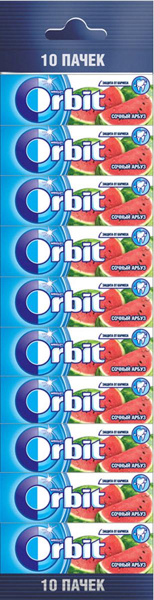 Orbit Сочный арбуз жевательная резинка без сахара, 10 пачек по 13,6 г4009900405768Жевательная резинка Orbit Сочный арбуз без сахара способствует поддержанию здоровья зубов: удаляет остатки пищи, способствует уменьшению зубного налета, нейтрализует вредные кислоты, усиливает процесс реминерализации эмали. Употребление жевательной резинки каждый раз после еды способствует поддержанию чистоты и здоровья зубов в дополнение к уходу за ротовой полостью с помощью зубной щетки.