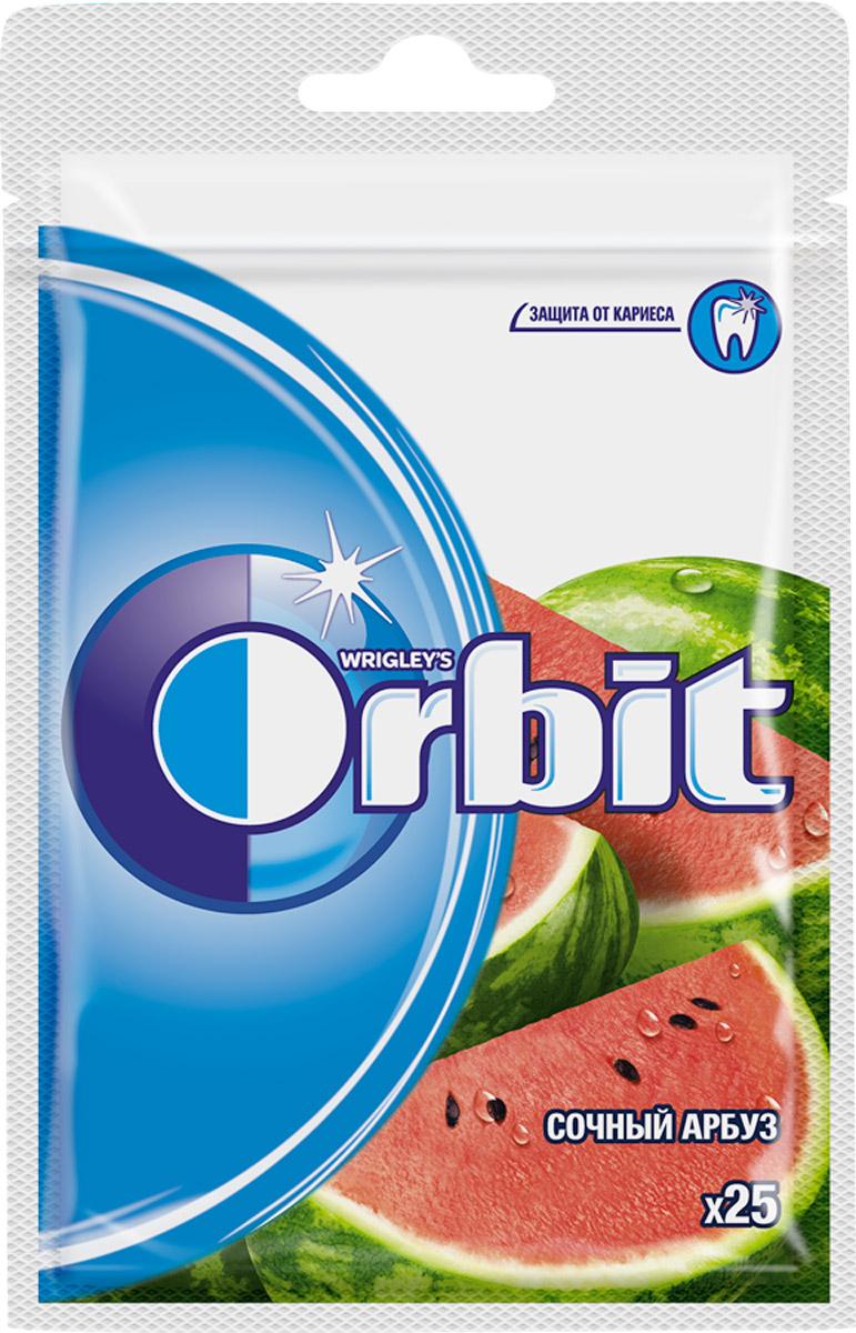 Orbit Сочный арбуз жевательная резинка без сахара, 25 драже4009900466424Жевательная резинка Orbit Сочный арбуз без сахара способствует поддержанию здоровья зубов: удаляет остатки пищи, способствует уменьшению зубного налета, нейтрализует вредные кислоты, усиливает процесс реминерализации эмали. Употребление жевательной резинки каждый раз после еды способствует поддержанию чистоты и здоровья зубов в дополнение к уходу за ротовой полостью с помощью зубной щетки. Уважаемые клиенты! Обращаем ваше внимание, что полный перечень состава продукта представлен на дополнительном изображении.