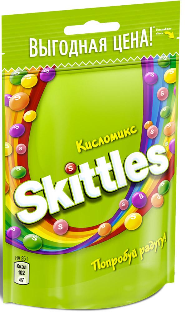 Skittles Кисломикс драже в сахарной глазури, 100 г4009900481090Жевательные конфеты Skittles Кисломикс c разноцветной глазурью предлагают радугу кислых фруктовых вкусов в каждой упаковке! Конфеты с ароматами малины, ананаса, мандарина, вишни и яблока: заразитесь радугой, попробуйте радугу! Уважаемые клиенты! Обращаем ваше внимание, что полный перечень состава продукта представлен на дополнительном изображении.