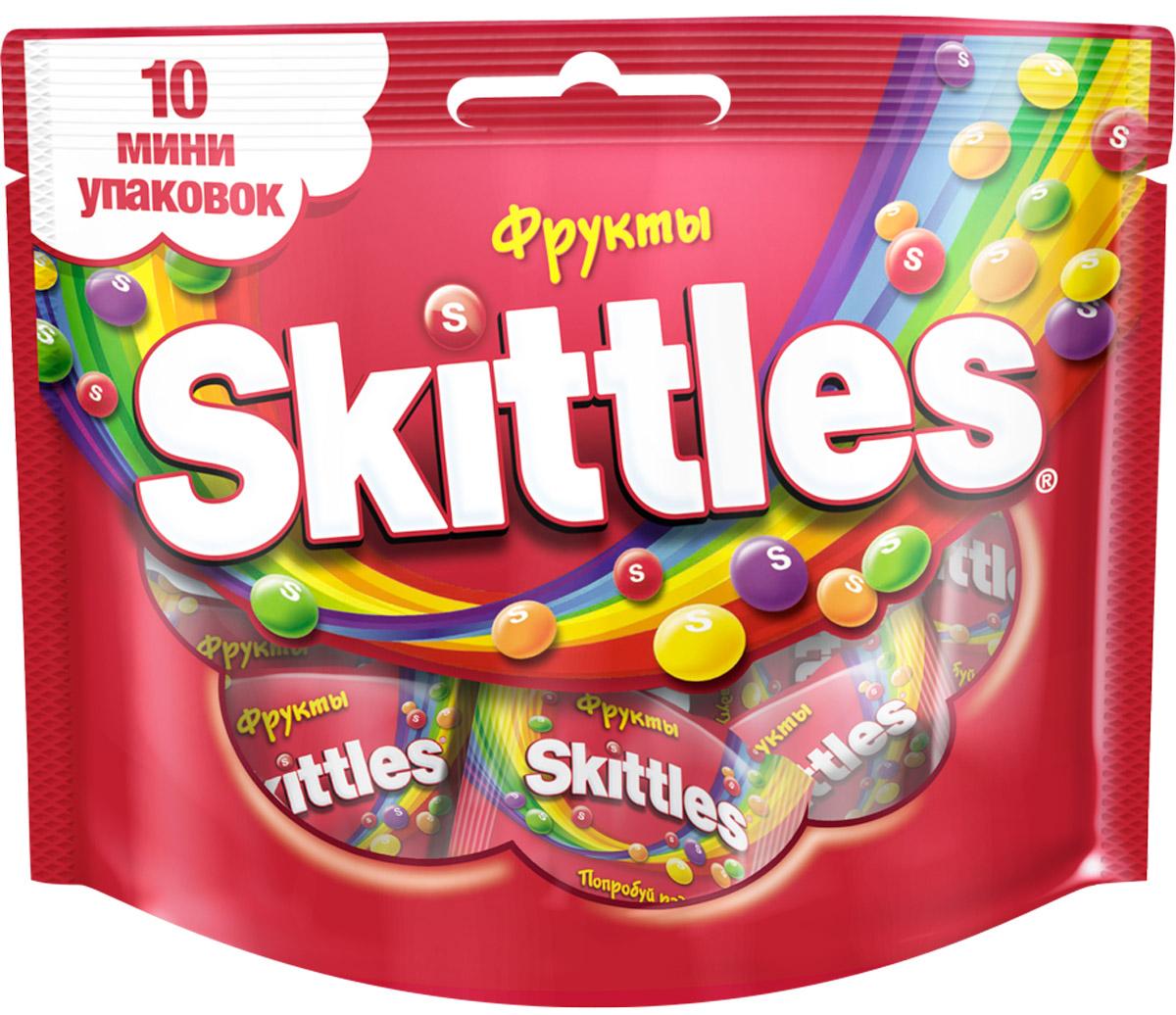 Skittles Фрукты драже в сахарной глазури, 10 пачек по 12 г4009900498135Жевательные конфеты Skittles c разноцветной глазурью предлагают радугу фруктовых вкусов в каждой упаковке! Конфеты с ароматами лимона, лайма, апельсина, клубники и черной смородины: заразитесь радугой, попробуйте радугу!