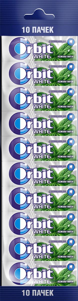 Orbit White Нежная мята жевательная резинка без сахара, 10 пачек по 13,6 г жевательная резинка orbit white нежная мята