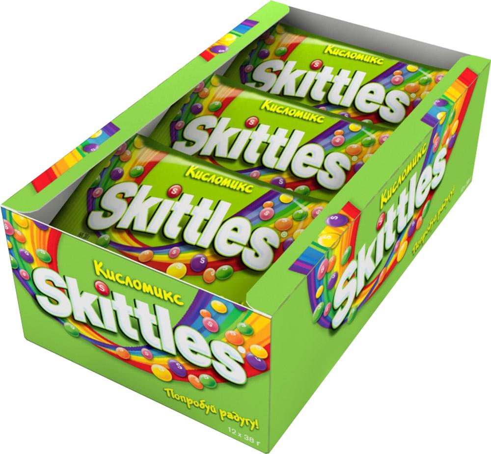 """Skittles """"Кисломикс"""" драже в сахарной глазури, 12 пачек по 38 г 5000159438049"""
