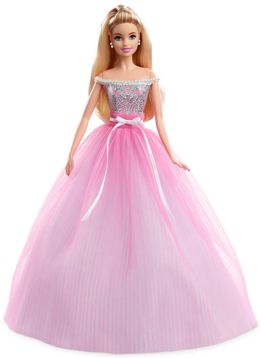 Barbie Коллекционная кукла Пожелания ко дню рожденияDVP49В особенный день нужен особенный подарок! Кукла Barbie Пожелания ко дню рождения исполняет мечты и делает праздник незабываемым! На кукле нарядное розовое платье с блестящим лифом, украшенным жемчужинами в зоне декольте, пышная юбка оформлена атласным бантом на талии. С куклой прилагается подставка и сертификат подлинности.