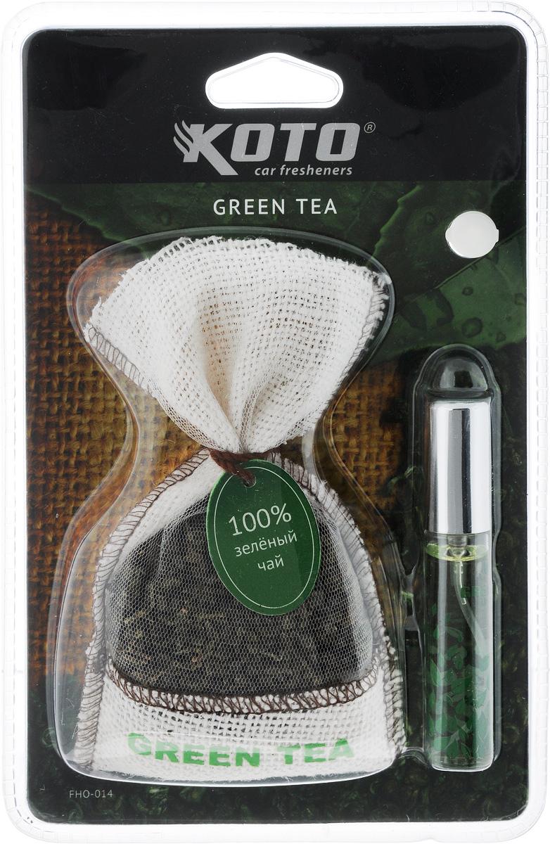 Ароматизатор автомобильный Koto Green teaFHO-014Ароматизатор Koto Green tea эффективно устраняет неприятные запахи и придает легкий приятный аромат. Он состоит из мешочка с зеленым чаем и флакона с жидким ароматизатором. Благодаря присоске, изделие легко размещается в автомобиле на зеркале заднего вида или на любой гладкой поверхности. Объем жидкого ароматизатора: 12 мл. Вес мешочка с зеленым чаем: 38 г.