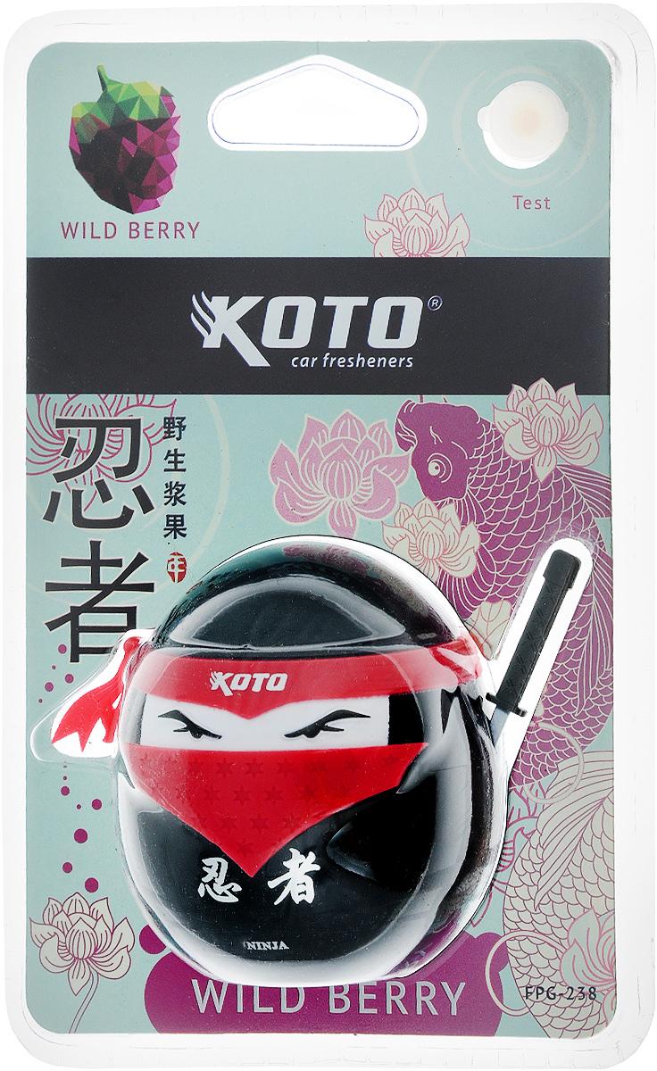 Ароматизатор автомобильный Koto Ниндзя. Wild berry, гелевый, 45 млFPG-238Автомобильный ароматизатор Koto Ниндзя. Wild berry эффективно устраняет неприятные запахи и придает приятный аромат лесных ягод. Сочетание геля с парфюмами наилучшего качества обеспечивает устойчивый запах. Кроме того, ароматизатор обладает элегантным дизайном. Изделие можно разместить на зеркале заднего вида, используя шнурок для подвеса.