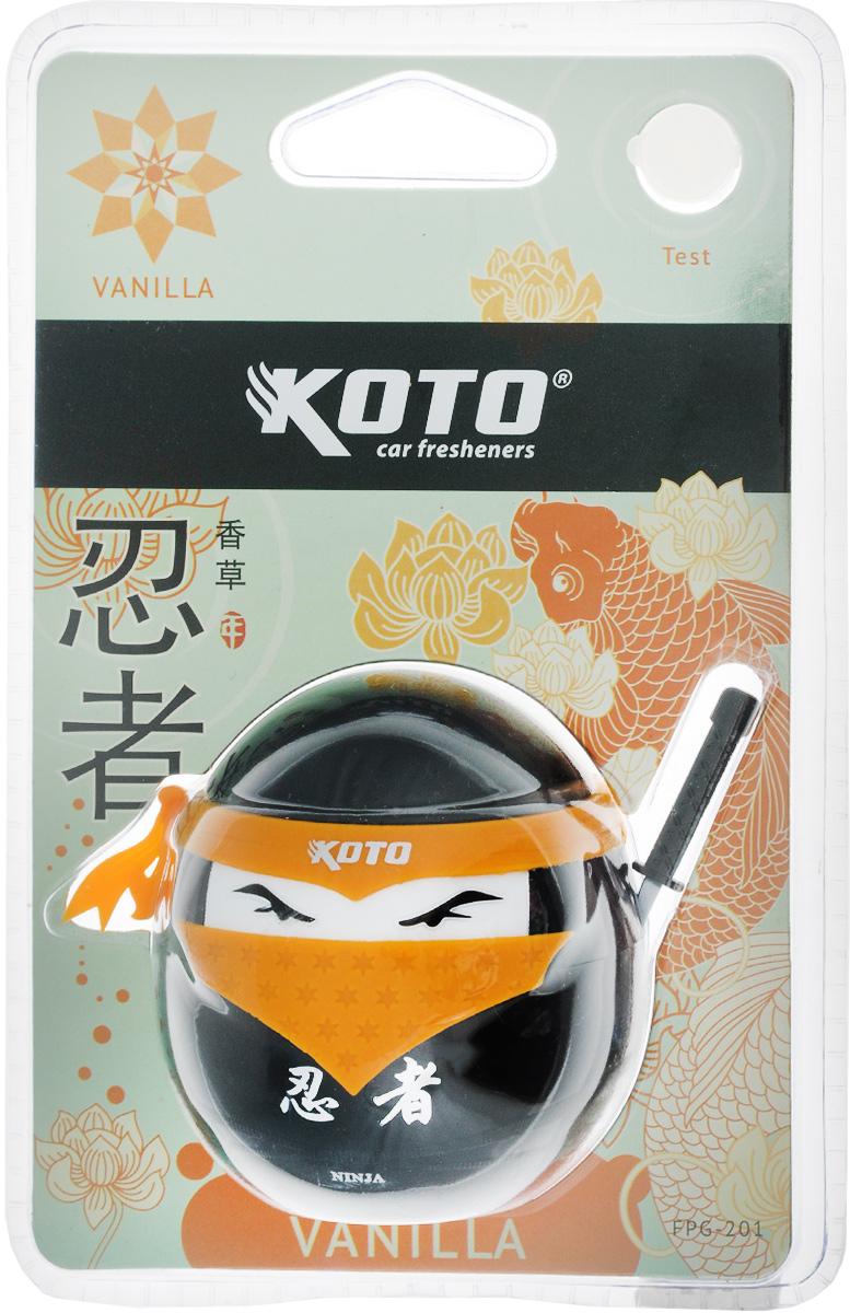 Ароматизатор автомобильный Koto Ниндзя. Vanilla, гелевый, 45 млFPG-201Автомобильный ароматизатор Koto Ниндзя. Vanilla эффективно устраняет неприятные запахи и придает приятный аромат ванили. Сочетание геля с парфюмами наилучшего качества обеспечивает устойчивый запах. Кроме того, ароматизатор обладает элегантным дизайном. Изделие можно разместить на горизонтальной поверхности, используя двухсторонний скотч.