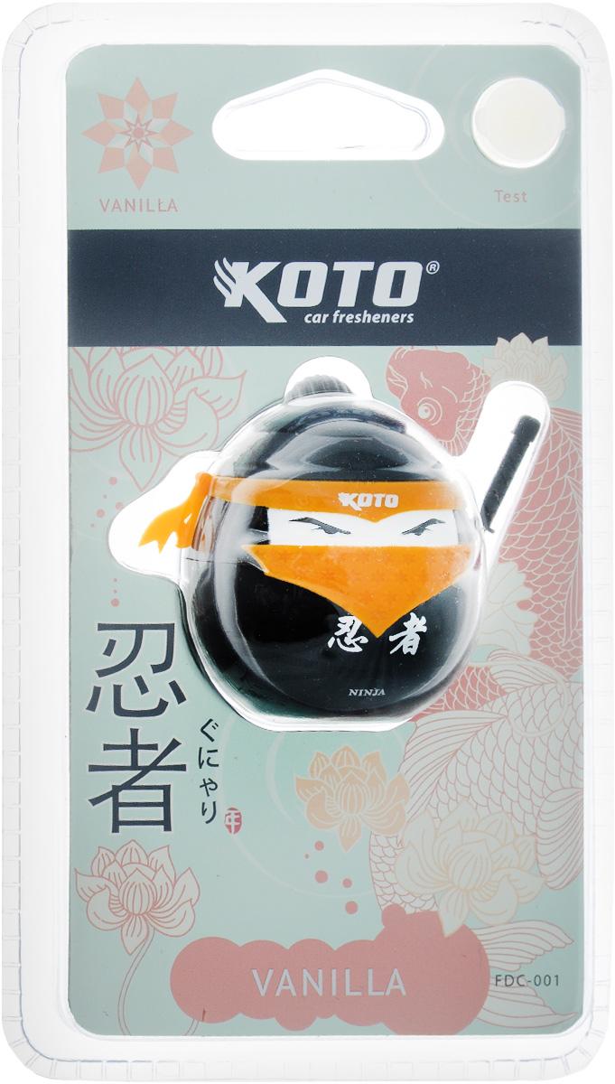 Ароматизатор автомобильный Koto Ниндзя. Vanilla, меловой, на дефлектор, 20 гFDC-001Автомобильный ароматизатор Koto Ниндзя. Vanilla эффективно устраняет неприятные запахи и придает приятный аромат. Сочетание мела с парфюмами наилучшего качества обеспечивает устойчивый запах. Кроме того, ароматизатор обладает элегантным дизайном. Благодаря специальной конструкции, изделие крепится на дефлектор.