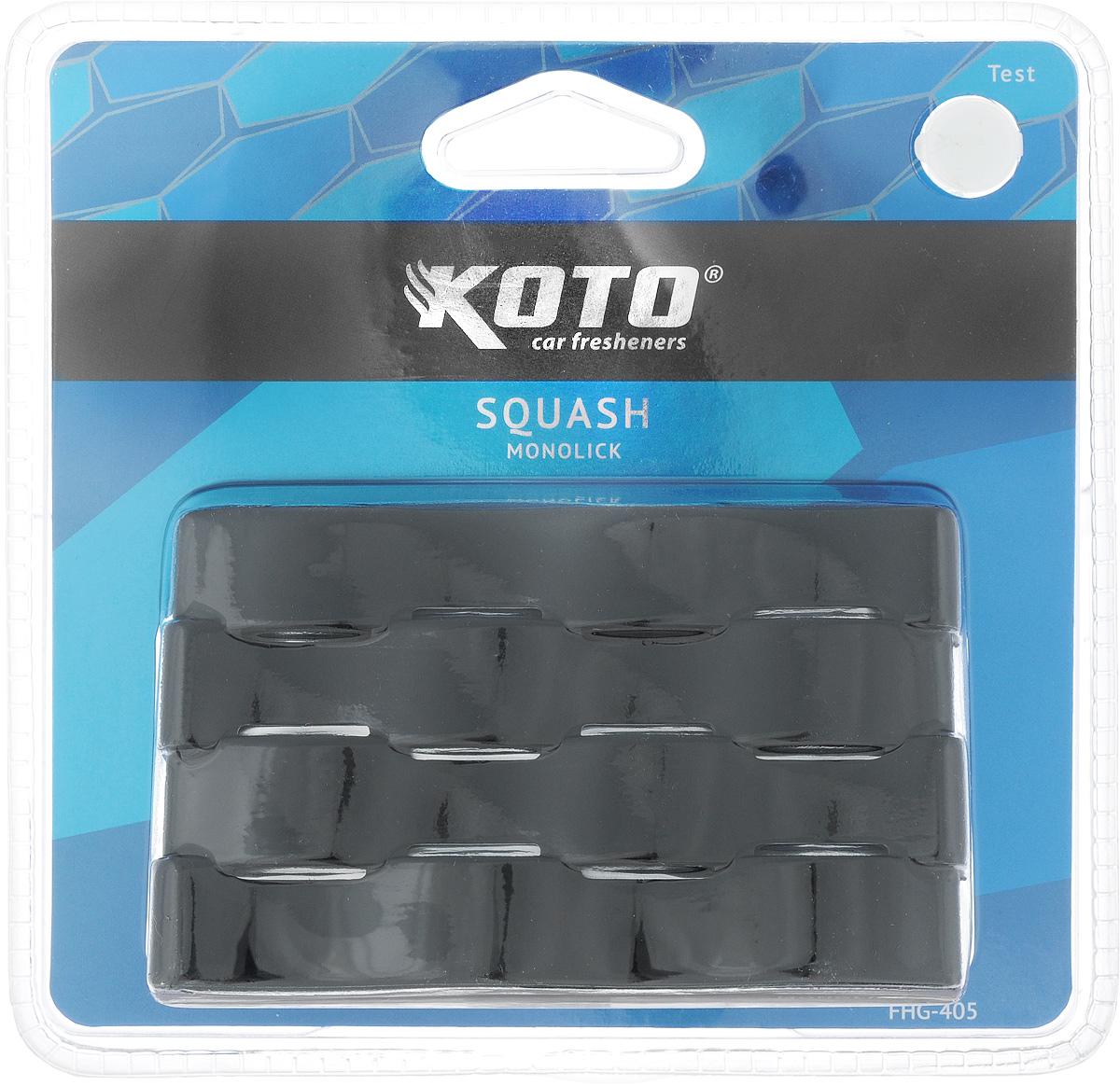 Ароматизатор автомобильный Koto Monolick. Squash, гелевый, 90 гFHG-405Автомобильный ароматизатор Koto Monolick. Squash эффективно устраняет неприятные запахи и придает приятный аромат. Сочетание геля с парфюмами наилучшего качества обеспечивает устойчивый запах. Кроме того, ароматизатор обладает элегантным дизайном. Благодаря специальной конструкции, изделие крепится на горизонтальную поверхность.