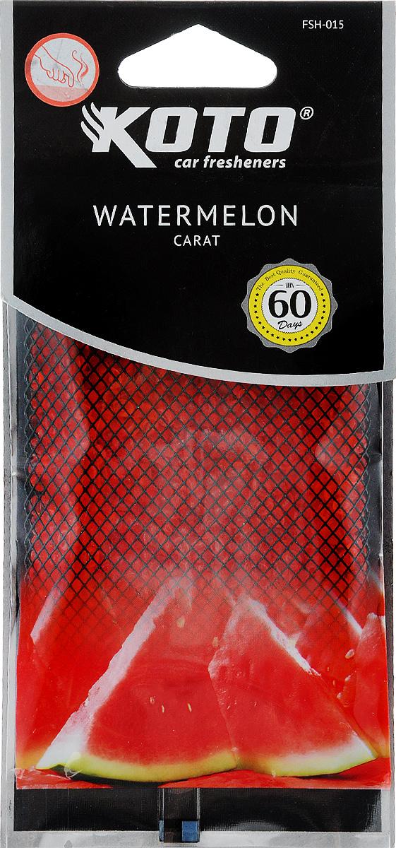 Ароматизатор автомобильный Koto Carat. Watermelon, гелевый, под сиденьеFSH-015Автомобильный ароматизатор Koto Carat. Watermelon эффективно устраняет неприятные запахи и придает легкий приятный аромат. Сочетание геля с парфюмами наилучшего качества обеспечивает устойчивый запах. Кроме того, ароматизатор обладает элегантным дизайном, поэтому будет гармонично смотреться в салоне любого автомобиля. Благодаря удобной конструкции, его можно положить под сиденье. Ароматизатор имеет продолжительный срок службы - до 60 дней. Его можно использовать не только в автомобиле, но и в домашних условиях.