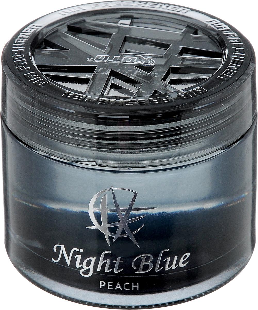 Ароматизатор автомобильный Koto Night Blue. Peach, гелевый, 65 млFPG-120Автомобильный ароматизатор Koto Night Blue. Peach эффективно устраняет неприятные запахи и придает приятный аромат. Сочетание геля с парфюмами наилучшего качества обеспечивает устойчивый запах. Кроме того, ароматизатор обладает элегантным дизайном. Изделие можно разместить на горизонтальной поверхности, используя двухстороннюю наклейку.