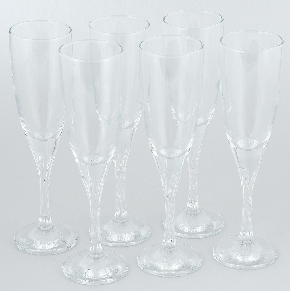 Набор бокалов Pasabahce Твист, 150 мл, 6 шт44307BНабор бокалов для шампанского 6 штV=150 мл