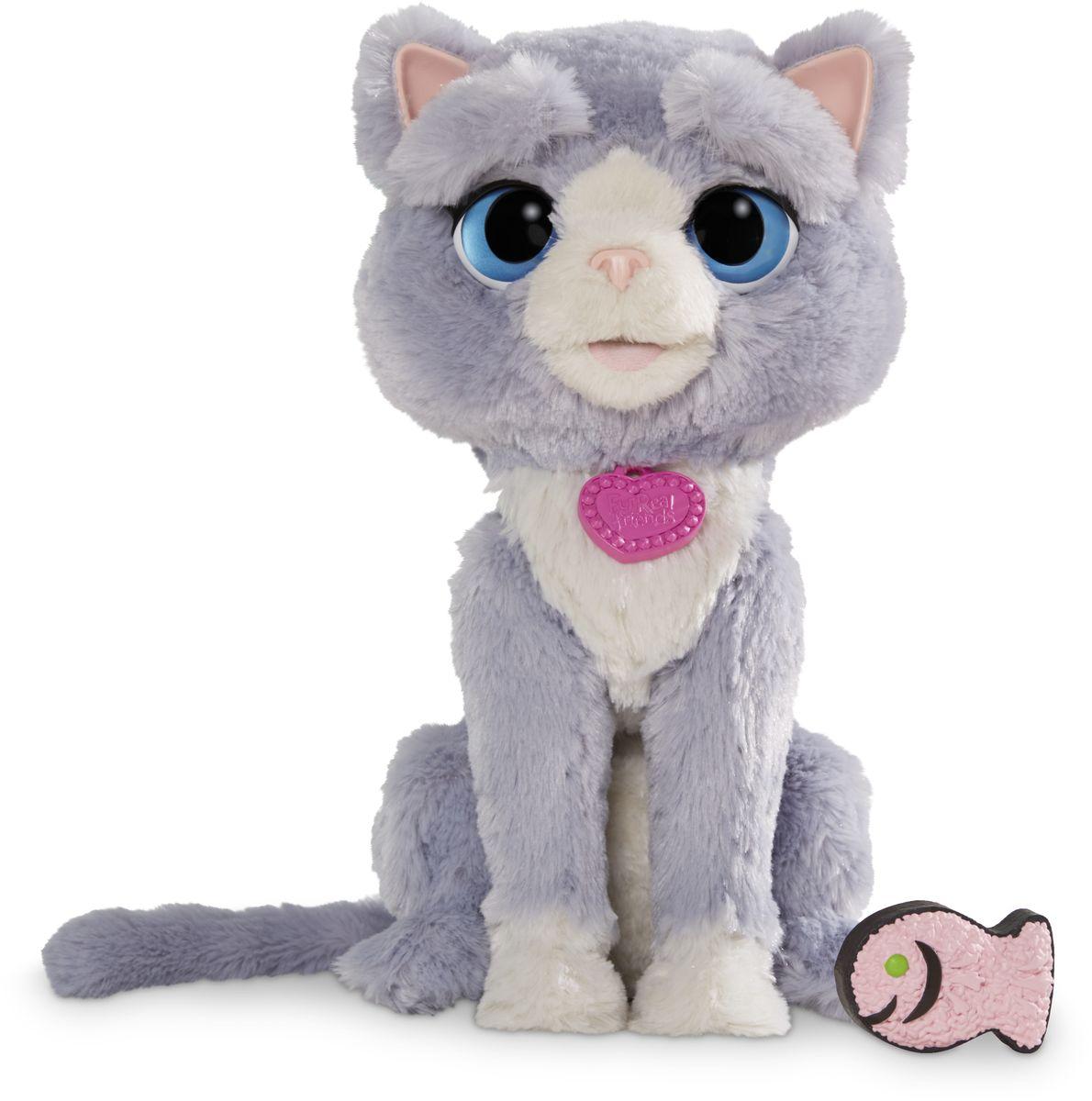 FurReal Friends Интерактивная игрушка Котёнок БутсиB5936Бутси обладает 5 разными выражениями. Она такая смелая и умеет показывать, когда счастлива, грустит, любопытна, расстроена или немного злится! Бутси обожает, когда ее обнимают или щекочат. Бутси любит своё угощение - рыбку! Есть функция TRY-ME!