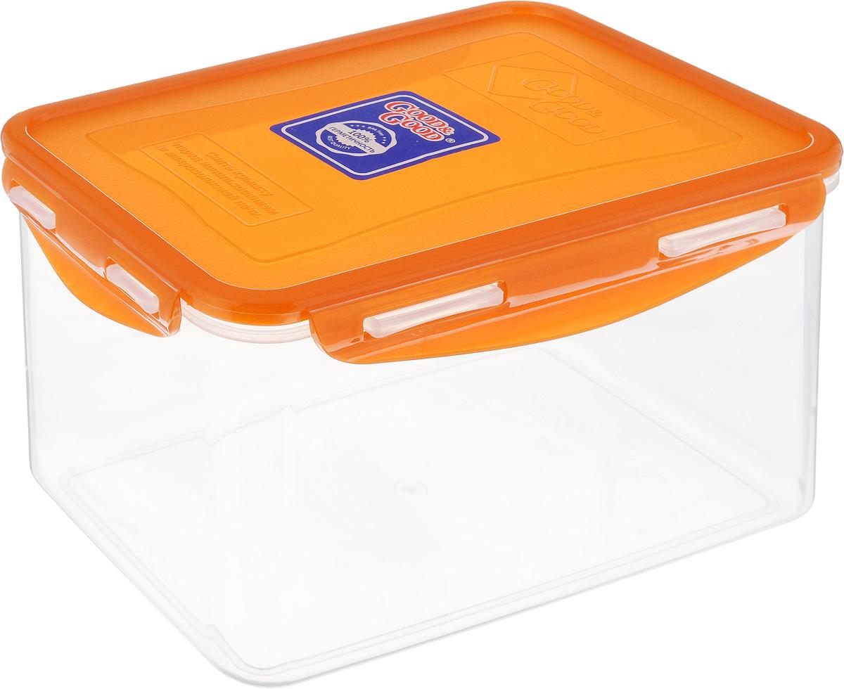 Контейнер пищевой Good&Good, цвет: прозрачный, оранжевый, 2,2 л3-3/LIDCOL_прозрачный, оранжевыйПрямоугольный контейнер Good&Good изготовлен из высококачественного полипропилена и предназначен для хранения любых пищевых продуктов. Благодаря особым технологиям изготовления, лотки в течение времени службы не меняют цвет и не пропитываются запахами. Крышка с силиконовой вставкой герметично защелкивается специальным механизмом. Контейнер Good&Good удобен для ежедневного использования в быту. Можно мыть в посудомоечной машине и использовать в микроволновой печи. Размер контейнера (с учетом крышки): 20 х 13,5 х 13 см.