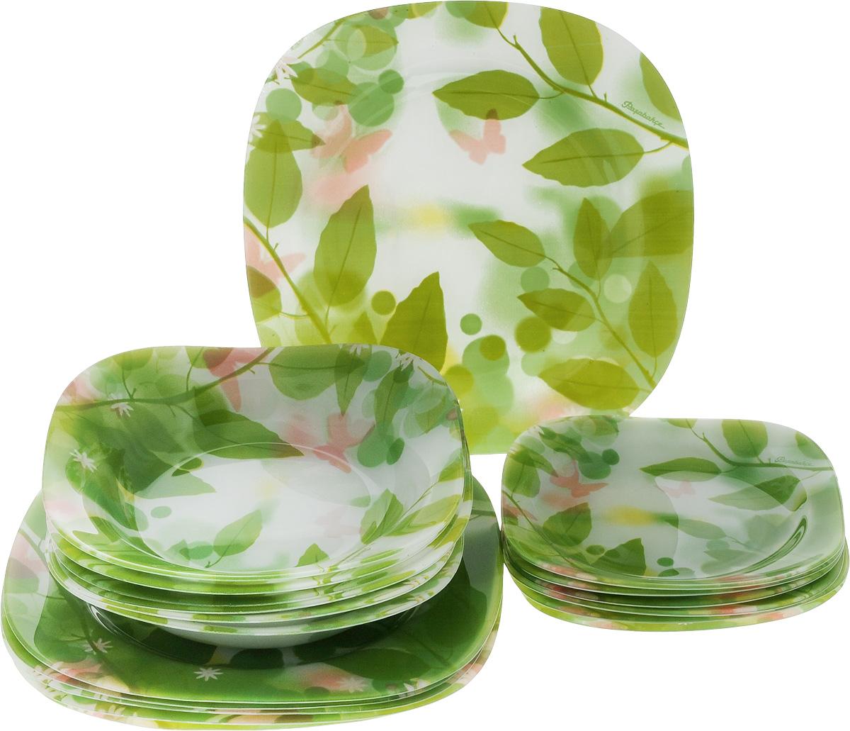 Набор тарелок Pasabahce Butterflies, 18 шт96464BНабор Pasabahce Butterflies состоит из 6 десертных тарелок, 6 глубоких тарелок и 6 обеденных тарелок, выполненных из высококачественного натрий-кальций-силикатного стекла. Изделия предназначены для красивой сервировки различных блюд. Набор сочетает в себе изысканный дизайн с максимальной функциональностью. Размер десертной тарелки: 18,5 х 18,5 см. Высота десертной тарелки: 2 см. Размер обеденной тарелки: 26 х 26 см. Высота обеденной тарелки: 2 см. Размер глубокой тарелки: 21 х 21 см. Высота глубокой тарелки: 3,5 см.