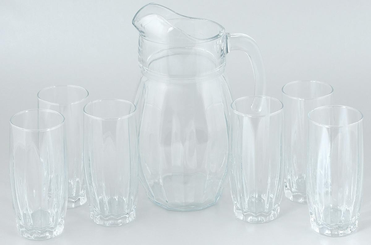 Набор для воды Pasabahce Dance, 7 предметов97874BНабор Pasabahce Dance состоит из шести стаканов и кувшина, выполненных из прочного натрий-кальций-силикатного стекла. Предметы набора предназначены для воды, сока и других напитков. Изделия сочетают в себе элегантный дизайн и функциональность. Благодаря такому набору пить напитки будет еще вкуснее. Набор для воды Pasabahce Dance прекрасно оформит праздничный стол и создаст приятную атмосферу. Такой набор также станет хорошим подарком к любому случаю. Объем графина: 1,7 л. Высота графина: 24,5 см. Объем стакана: 320 мл. Высота стакана: 14 см.