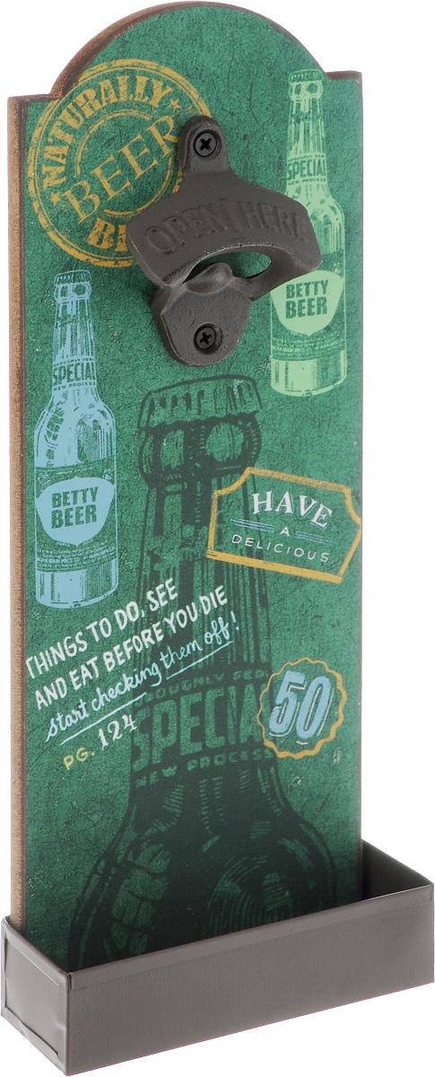 Ключ для открывания бутылок Magic Home Бар, настенный, 4,5 х 11,5 х 30 см43583Ключ для открывания бутылок Magic Home Бар - это полезный и нужный прибор в каждом доме. Изделие, выполненное из чугунного литья, МДФ и оцинкованной стали, оснащено двумя отверстиями для подвешивания и украшено оригинальным изображением с лицевой стороны.