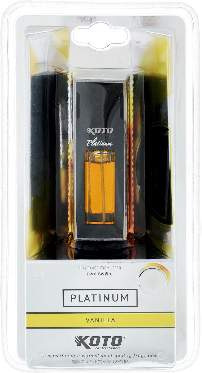 Ароматизатор автомобильный Koto Platinum. Vanilla, 12 млFDL-101Ароматизатор Koto Platinum. Vanilla эффективно устраняет неприятные запахи и придает легкий приятный аромат. Изделие предназначено для размещения в автомобиле на дефлекторе с помощью клипсы.