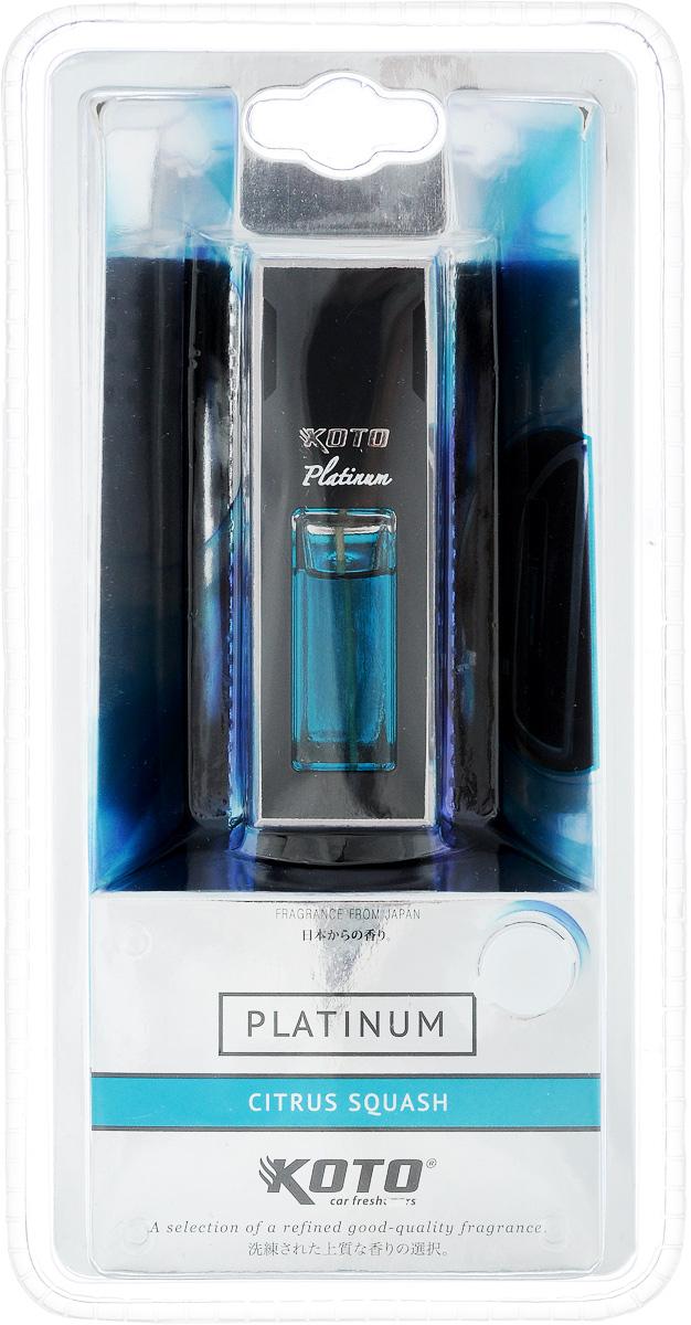 Ароматизатор автомобильный Koto Platinum. Citrus squash, 12 млFDL-121Ароматизатор Koto Platinum. Citrus squash эффективно устраняет неприятные запахи и придает легкий приятный аромат. Изделие предназначено для размещения в автомобиле на дефлекторе с помощью клипсы.