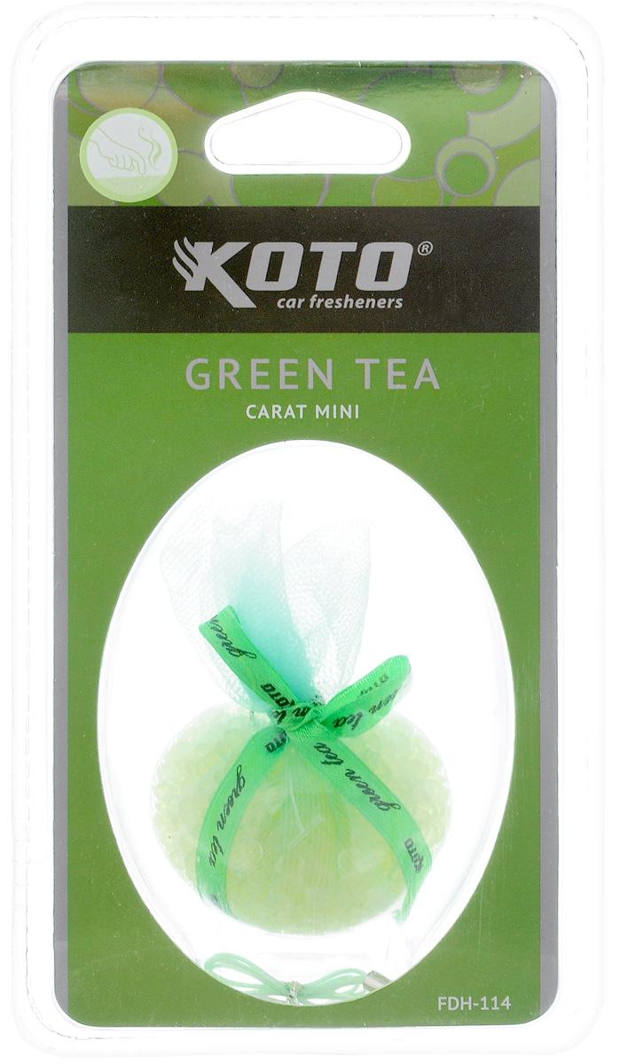 Ароматизатор автомобильный Koto Carat Mini. Green tea, гелевый, 20 гFDH-114Автомобильный ароматизатор Koto Carat Mini. Green tea эффективно устраняет неприятные запахи и придает легкий приятный аромат. Сочетание геля с парфюмами наилучшего качества обеспечивает устойчивый запах. Кроме того, ароматизатор обладает элегантным дизайном. Благодаря удобной конструкции, его можно разместить на дефлекторе, используя крепление, или подвесить за шнурок.