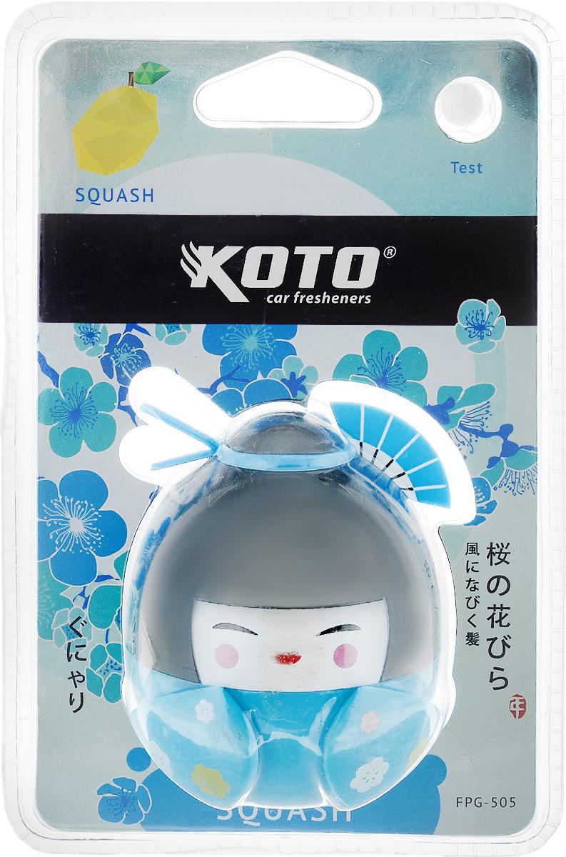 Ароматизатор автомобильный Koto Гейша. Squash, гелевый, 45 млFPG-505Автомобильный ароматизатор Koto Гейша. Squash эффективно устраняет неприятные запахи и придает приятный аромат тыквы. Сочетание геля с парфюмами наилучшего качества обеспечивает устойчивый запах. Кроме того, ароматизатор обладает элегантным дизайном. Изделие можно разместить на горизонтальной поверхности, используя двухсторонний скотч.