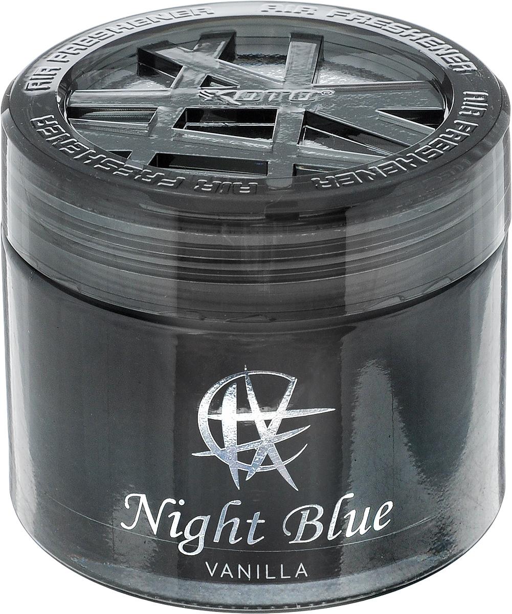 Ароматизатор автомобильный Koto Night Blue. Vanilla, гелевый, 65 млFPG-101Автомобильный ароматизатор Koto Night Blue. Vanilla эффективно устраняет неприятные запахи и придает приятный аромат. Сочетание геля с парфюмами наилучшего качества обеспечивает устойчивый запах. Кроме того, ароматизатор обладает элегантным дизайном. Изделие можно разместить на горизонтальной поверхности, используя двухстороннюю наклейку.