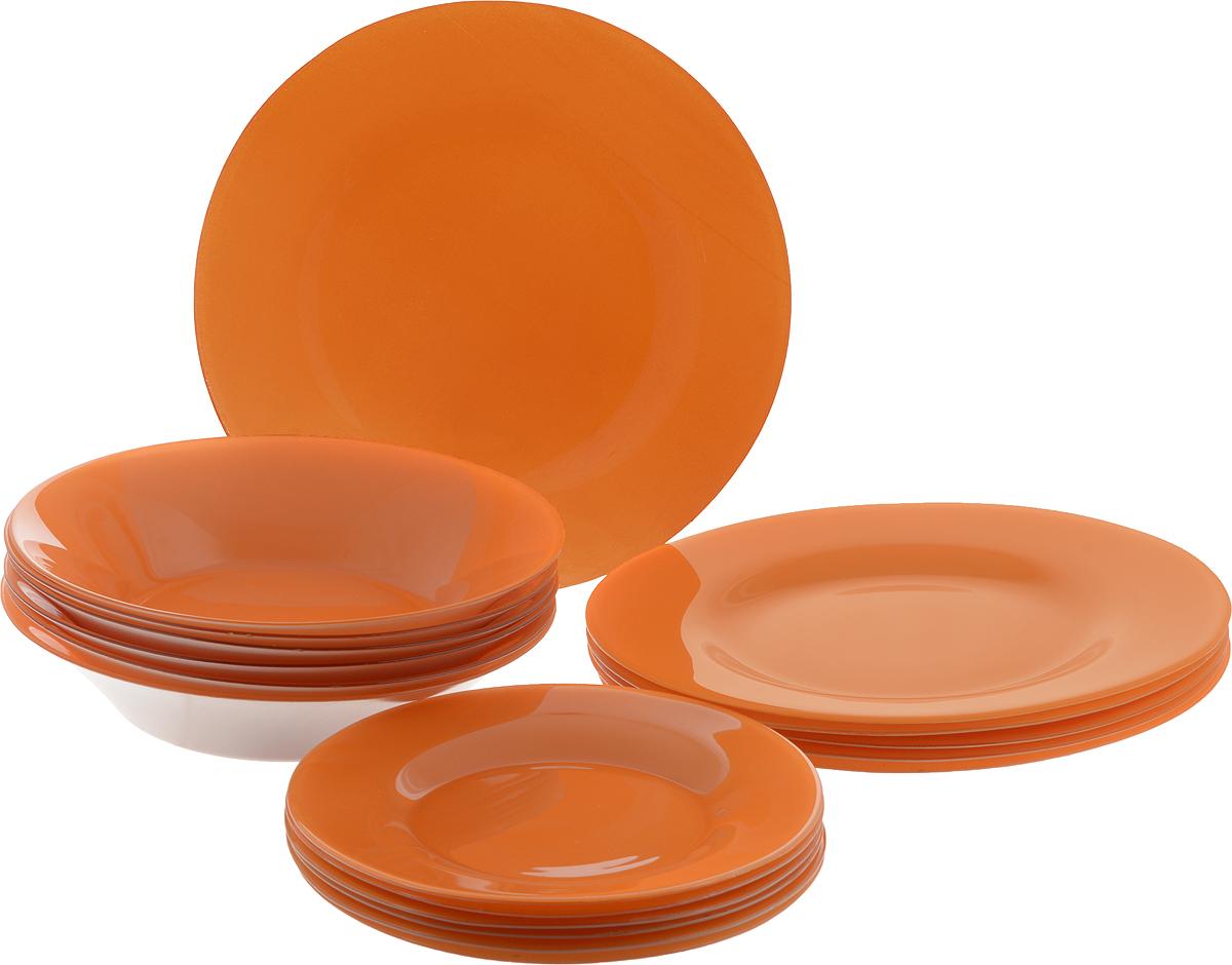 Набор тарелок Pasabahce Village, цвет: оранжевый, 18 шт95401/D15Набор Pasabahce Village состоит из 6 десертных тарелок, 6 глубоких тарелок и 6 обеденных тарелок, выполненных из высококачественного натрий-кальций-силикатного стекла. Изделия предназначены для красивой сервировки различных блюд. Набор сочетает в себе изысканный дизайн с максимальной функциональностью. Диаметр десертной тарелки: 19,3 см. Высота десертной тарелки: 1,8 см. Диаметр обеденной тарелки: 26 см. Высота обеденной тарелки: 2 см. Диаметр глубокой тарелки: 22 см. Высота глубокой тарелки: 4,8 см.
