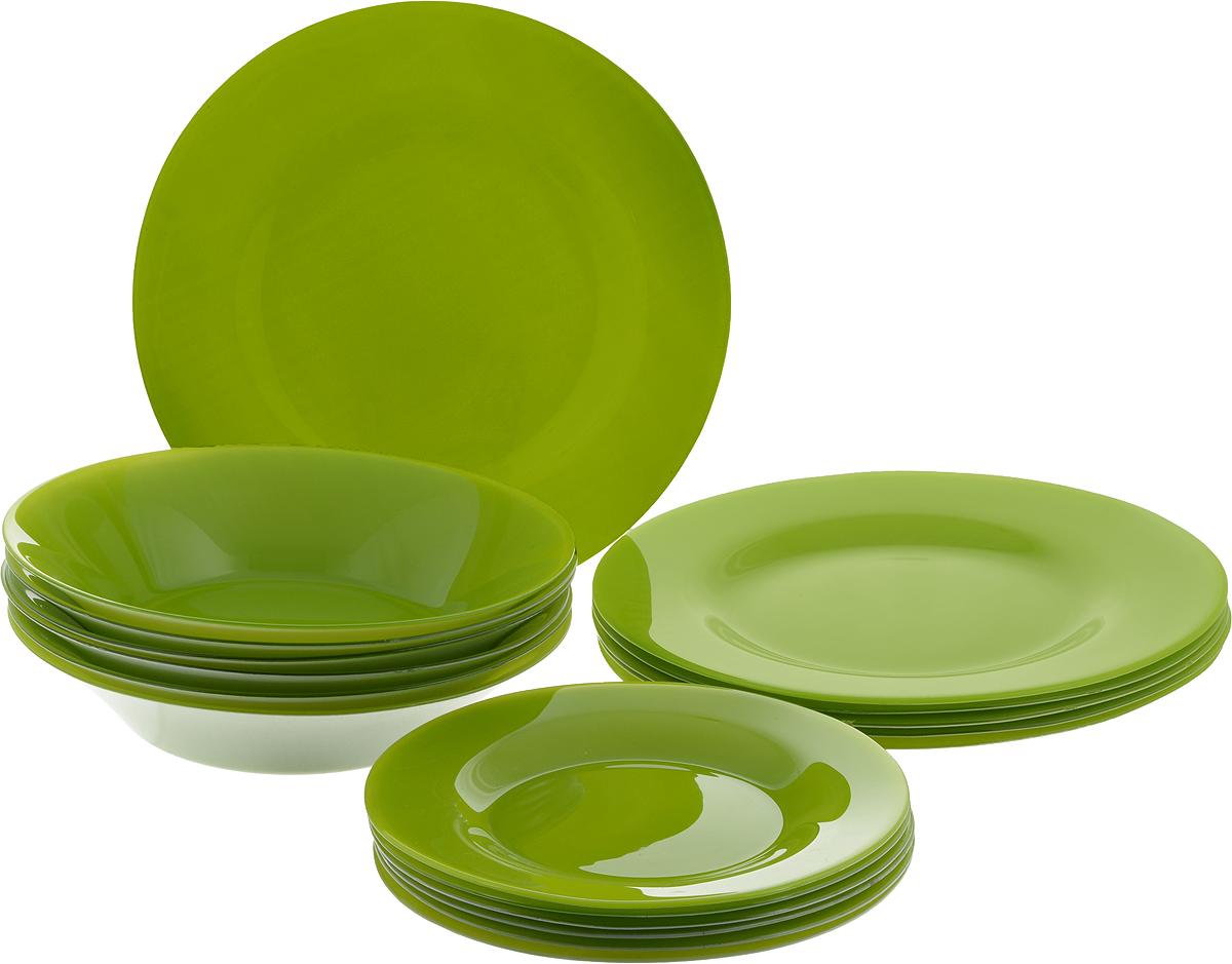 Набор тарелок Pasabahce Village, цвет: зеленый, 18 шт95401/D14Набор Pasabahce Village состоит из 6 десертных тарелок, 6 глубоких тарелок и 6 обеденных тарелок, выполненных из высококачественного натрий-кальций-силикатного стекла. Изделия предназначены для красивой сервировки различных блюд. Набор сочетает в себе изысканный дизайн с максимальной функциональностью. Диаметр десертной тарелки: 19,3 см. Высота десертной тарелки: 1,8 см. Диаметр обеденной тарелки: 26 см. Высота обеденной тарелки: 2 см. Диаметр глубокой тарелки: 22 см. Высота глубокой тарелки: 4,8 см.