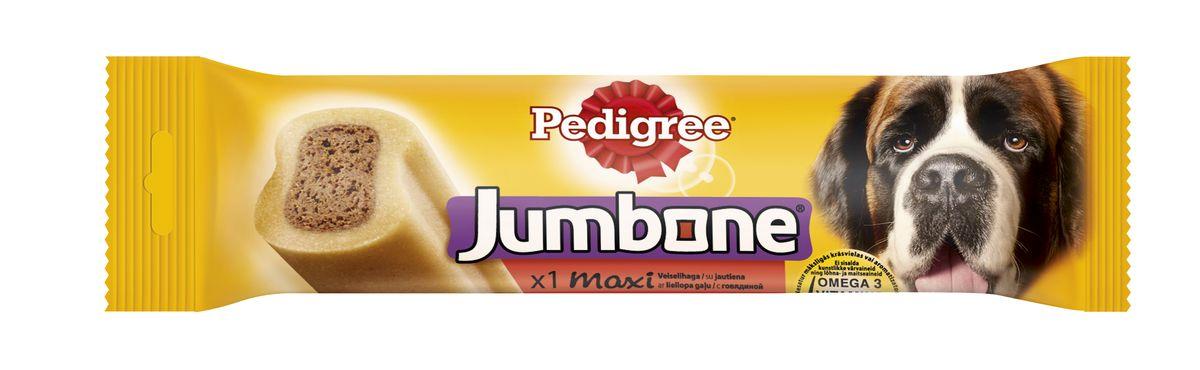 Лакомство для собак Pedigree Jumbone Maxi, с говядиной, 210 г10223Вкусное жевательное лакомство Pedigree Jumbone Maxi доставит вашему питомцу удовольствие и позаботится о его здоровье. Лакомство представляет собой большую косточку с натуральным вкусом говядины. В состав лакомства входят витамины и микроэлементы, которые помогут поддерживать зубы, кожу и шерсть вашей собаки в отличном состоянии. Не содержит искусственных красителей и ароматизаторов. Характеристики: Состав: злаки, продукты растительного происхождения, сахара, мясо и субпродукты (в том числе 4% говядины), минералы, растительные белковые экстракты, масла и жиры, семена и травы. Пищевая ценность на 100 г: белок - 7 г, жир - 1,5 г, зола - 4 г, клетчатка - 2,5 г, влажность - 15 г, кальций 0,6 г, омега 3 жирные кислоты - 56,7 мг, Витамин А - 503МЕ, Витамин Е - 5,04 мг, сульфат железа - 4,67 мг. Энергетическая ценность на 100 г: 298 ккал. Вес: 210 г. Товар сертифицирован.