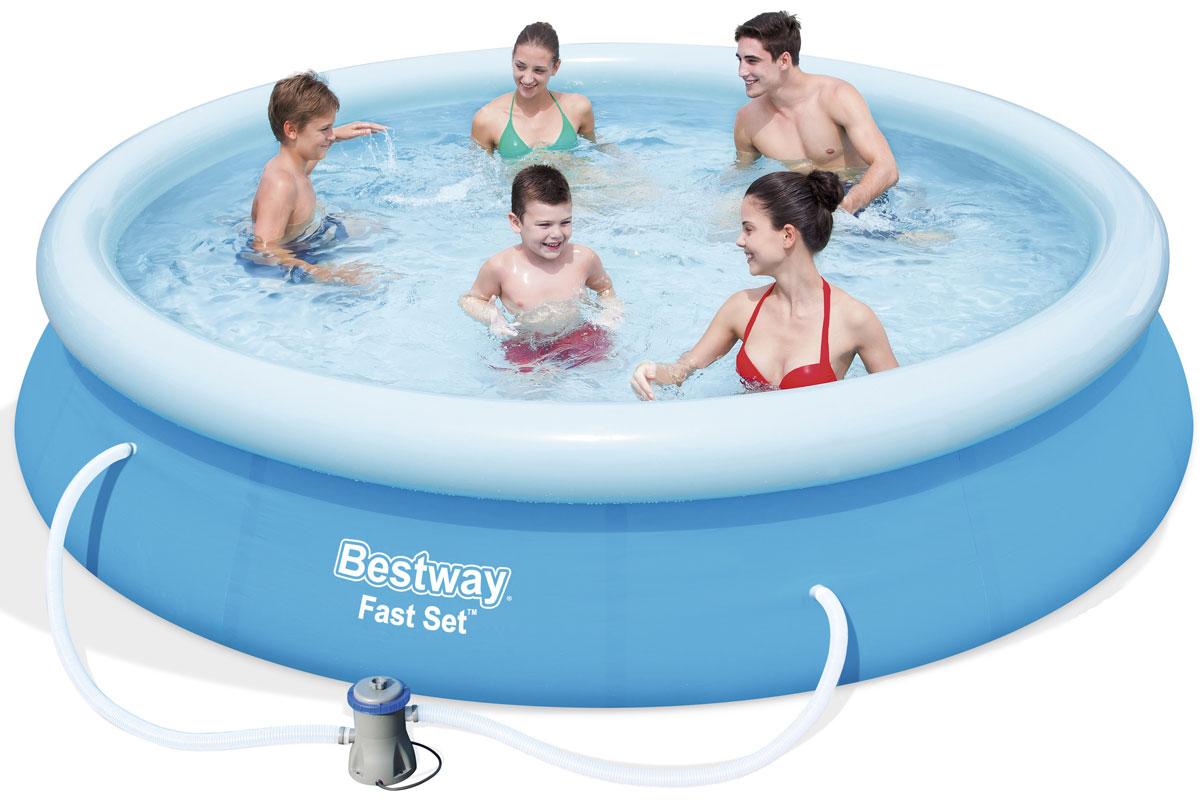 Bestway Бассейн с надувным бортом с ф.-насосом57274Бассейн надувной. В комплекте фильтр-насос (работает от сети 220 V). Выполнен из высококачественного трехслойного ПВХ: два слоя плотного винила и один - полиэстер для особой прочности. Чаша поддерживается надувным кольцом. Для установки бассейна выберите ровную поверхность, надуйте верхнее кольцо, наполните бассейн водой и наслаждайтесь купанием. Не заполняйте бассейн водой больше чем на 80%. Размер: 366 х 76 см. Объем: 5377 л. Производительность фильтра-насоса: 1,249 л.