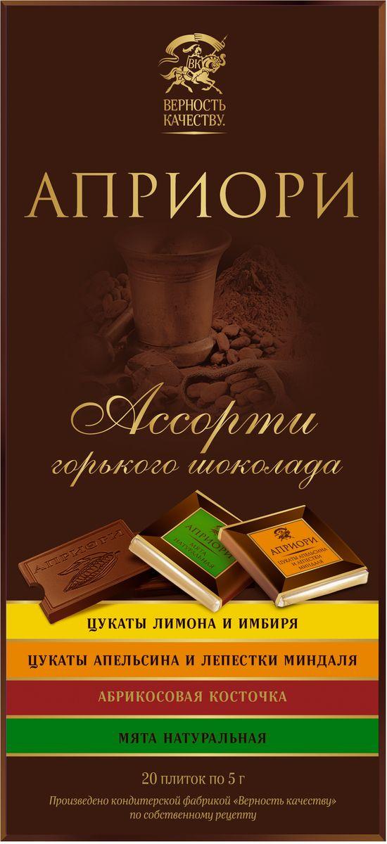 Априори ассорти горького шоколада с цукатами и орехами, 100 г 8252875