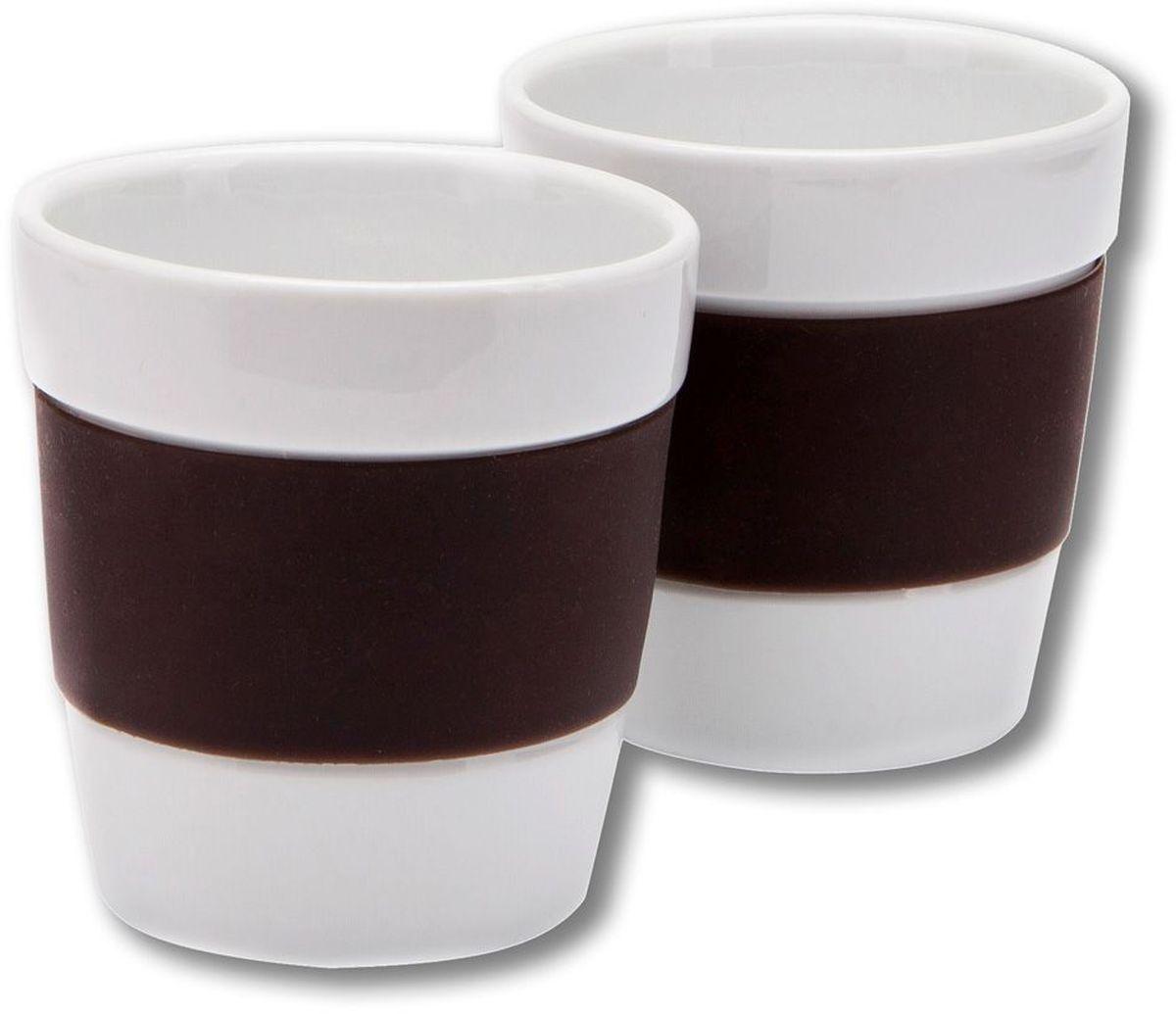 Набор стаканов MoulinVilla, цвет: коричневый, 250 мл, 2 штLIV-250BRНабор из 2 фарфоровых стаканов с силиконом 250 мл коричневый