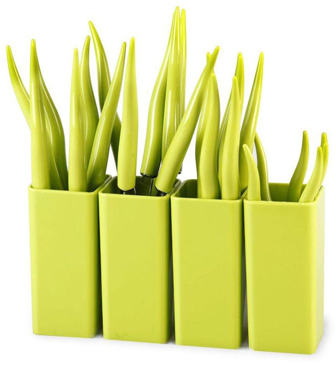 Набор столовых приборов MoulinVilla Chili, цвет: зеленый, 24 предметаTUL-24GСтоловые приборы CHILI 24 предмета подходят под различный интерьер. Столовые приборы CHILI – это яркий стильный дизайн и высокая функциональность. Столовые приборы сделаны из нержавеющей стали и высокопрочного пластика. Набор 24 предмета: 6 вилок, 6 ножей, 6 столовых ложек, 6 чайных ложек, 4 подставки. Их срок годности не ограничен.