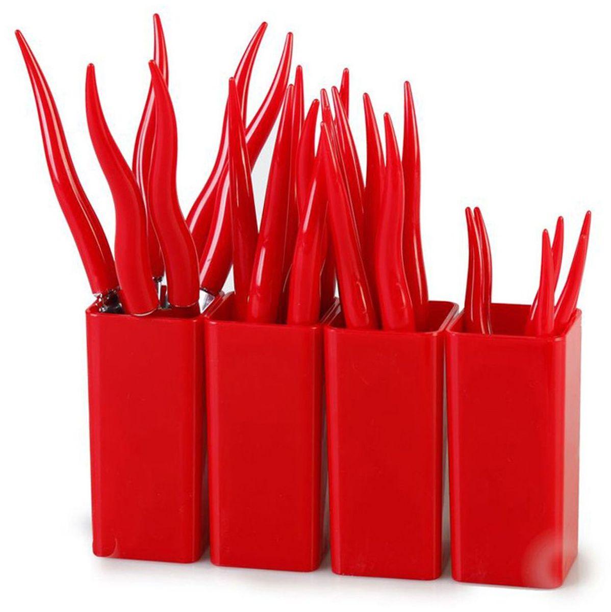 Набор столовых приборов MoulinVilla Chili, цвет: красный, 24 предметаTUL-24RСтоловые приборы CHILI 24 предмета подходят под различный интерьер. Столовые приборы CHILI – это яркий стильный дизайн и высокая функциональность. Столовые приборы сделаны из нержавеющей стали и высокопрочного пластика. Набор 24 предмета: 6 вилок, 6 ножей, 6 столовых ложек, 6 чайных ложек, 4 подставки. Их срок годности не ограничен.