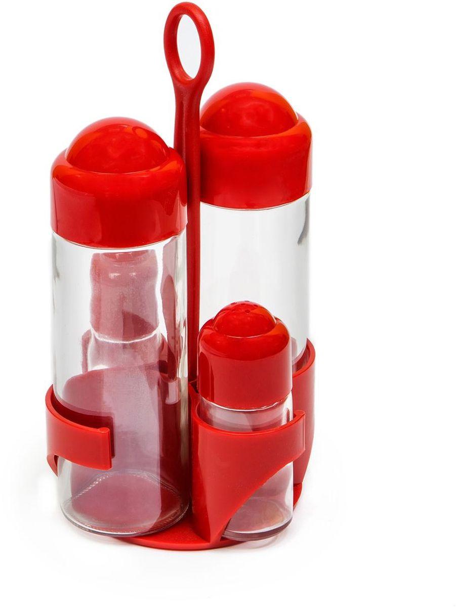 Набор емкостей для масла и уксуса MoulinVilla, солонка, перечница, на подставке, цвет: красный, 5 предметовV10121100443В набор входит две емкости для масла и уксуса, а также солонка и перечница. Емкости выполнены из прочного стекла с пластиковыми крышками. Герметичные крышки обеспечивают долгое хранение жидкостей. В набор входит подставка. Яркий оригинальный набор станет изысканным украшением интерьера вашей кухни.