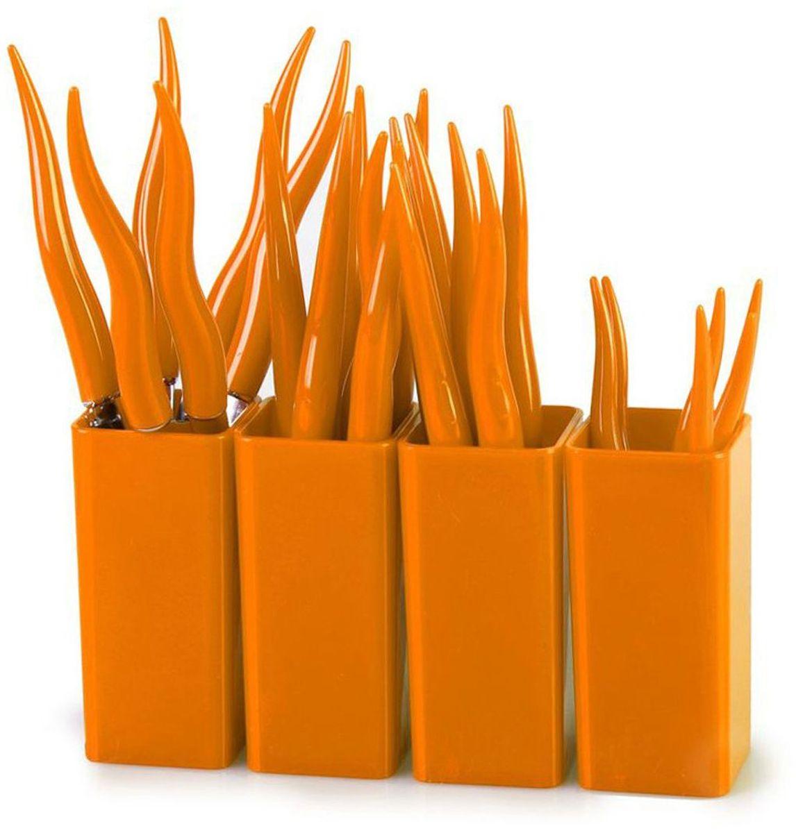 Набор столовых приборов MoulinVilla Chili, цвет: оранжевый, 24 предметаTUL-24ОСтоловые приборы CHILI 24 предмета подходят под различный интерьер. Столовые приборы CHILI – это яркий стильный дизайн и высокая функциональность. Столовые приборы сделаны из нержавеющей стали и высокопрочного пластика. Набор 24 предмета: 6 вилок, 6 ножей, 6 столовых ложек, 6 чайных ложек, 4 подставки. Их срок годности не ограничен.