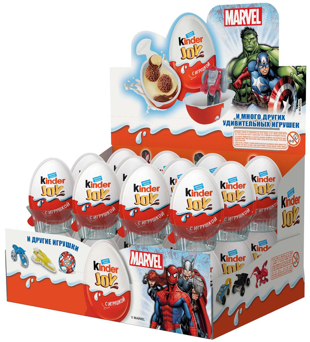 Kinder Joy Marvel кондитерское изделие с игрушкой 21 г80310891Кондитерское изделие Kinder Joy с игрушкой: молочно-ореховая паста с какао и с двумя вафельными шариками, покрытыми какао.