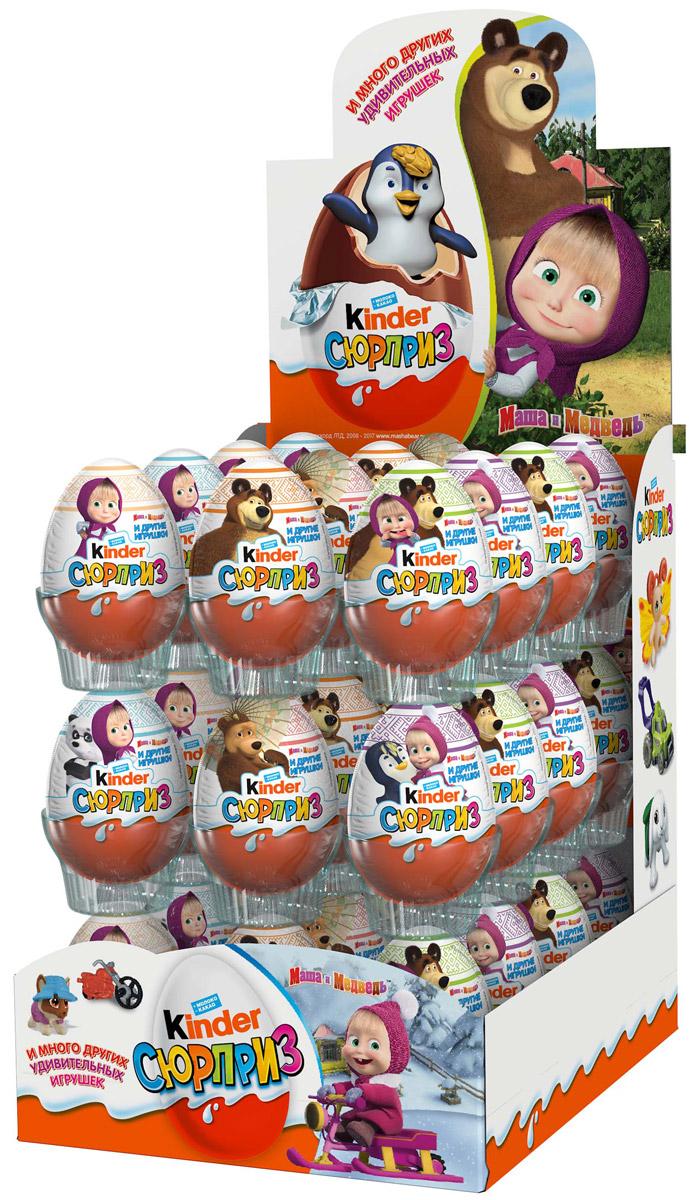 """Kinder Сюрприз """"Маша и Медведь"""" яйцо из молочного шоколада c молочным внутренним слоем и игрушкой внутри, 36 штук по 20 г 5413548141084"""