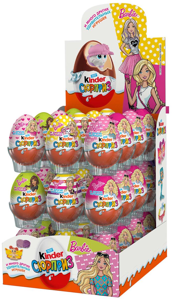 Kinder Сюрприз Barbie яйцо из молочного шоколада c молочным внутренним слоем и игрушкой внутри, 36 штук по 20 г8000500088852Kinder Сюрприз - яйцо из любимого молочного шоколада Kinder с молочным внутренним слоем и удивительной игрушкой внутри. Kаждый год в коллекции Kinder Сюрприз появляется более 100 удивительных игрушек для детей.
