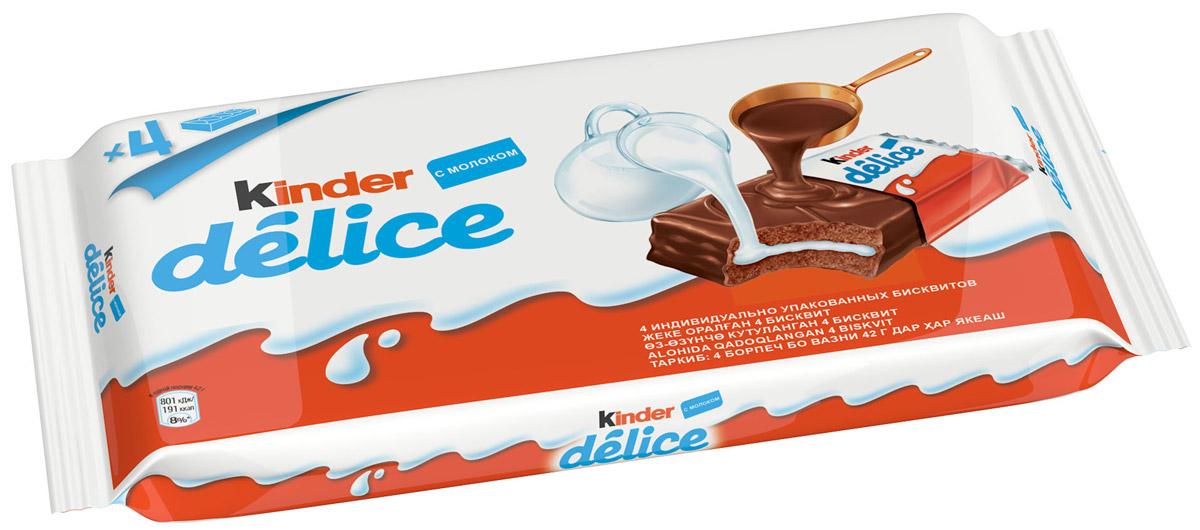 Kinder Delice пирожное бисквитное, покрытое какао-глазурью, с молочной начинкой, 4 шт по 42 г8000500213759Пирожное бисквитное, покрытое какао глазурью, с молочной начинкой. Kinder Delice создан из простых и полезных ингредиентов: молока, пшеничной муки, какао. Питательный, с насыщенным вкусом Kinder Delice идеально подходит для любой ситуации, когда хочется перекусить и порадовать себя! Герметичная упаковка позволяет сохранить высокие вкусовые качества и свежесть воздушного бисквита, нежной шоколадной глазури и молочной начинки.