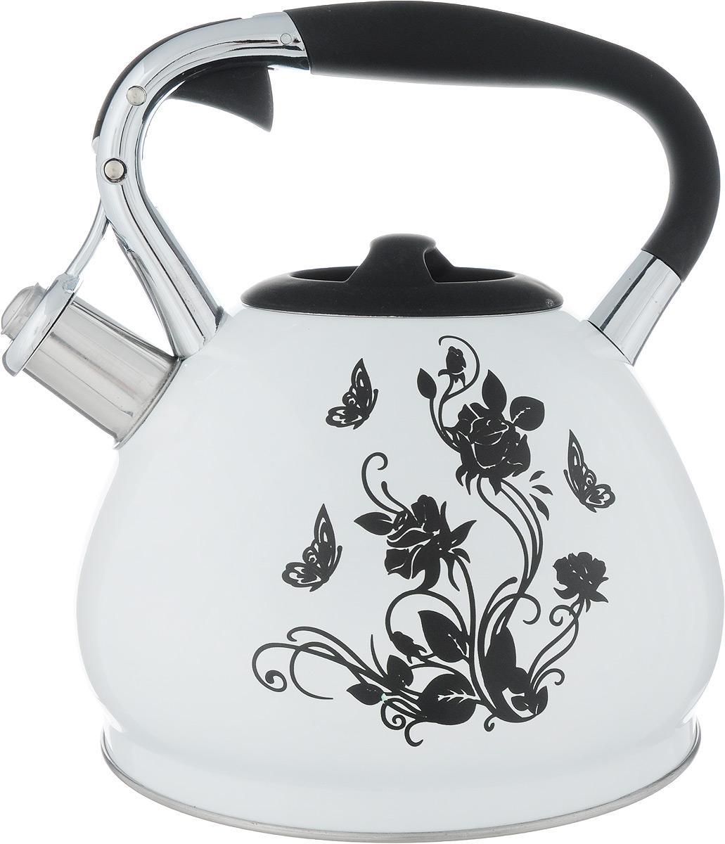 Чайник Bekker Цветок, со свистком, 3 лBK-S594_цветокЧайник Bekker Цветы выполнен из высококачественной нержавеющей стали, что обеспечивает долговечность использования. Внешнее цветное покрытие придает приятный внешний вид. Фиксированная ручка из бакелита с силиконовым покрытием делает использование чайника очень удобным и безопасным. Чайник снабжен свистком и устройством для открывания носика, которое находится на ручке. Изделие оснащено цельнометаллическим дном, что способствует медленному остыванию чайника. Черный рисунок на стенке чайника при достижении температуры 40°С начинает менять окрас на радужные цвета. Подходит для газовых, электрических и стеклокерамических плит, а также индукционных. Можно мыть в посудомоечной машине. Высота чайника (без учета крышки и ручки): 14 см. Высота чайника (с учетом ручки): 24 см. Диаметр (по верхнему краю): 9,5 см.