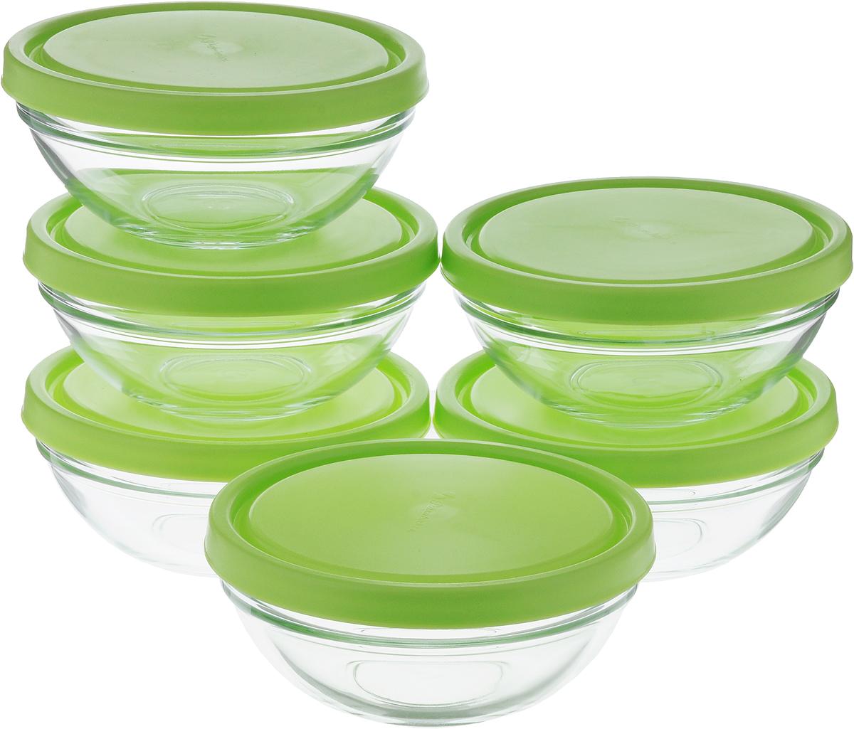 Набор салатников Pasabahce Шефс, с крышкой, диаметр 14 см, 6 шт53553BTD1Набор салатников 6 шт d=140мм V=500 мл (закаленное стекло с зеленой крышкой)