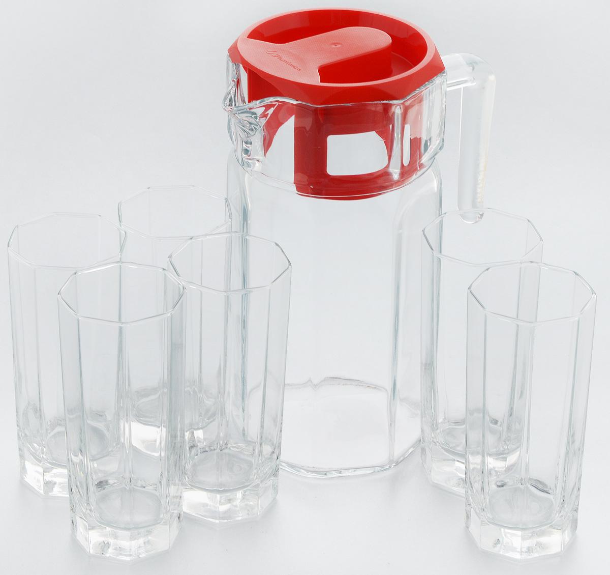 Набор для воды Pasabahce Kosem, 7 предметов. 97415B97415BНабор Pasabahce Kosem состоит из шести стаканов и графина, выполненных из прочного натрий-кальций-силикатного стекла. Предметы набора, оснащенные рельефной многогранной поверхностью, предназначены для воды, сока и других напитков. Графин снабжен пластиковой, плотно закрывающейся крышкой. Изделия сочетают в себе элегантный дизайн и функциональность. Благодаря такому набору пить напитки будет еще вкуснее. Набор для воды Pasabahce Kosem прекрасно оформит праздничный стол и создаст приятную атмосферу. Такой набор также станет хорошим подарком к любому случаю. Высота графина: 24 см. Объем стакана: 200 мл. Высота стакана: 15 см.