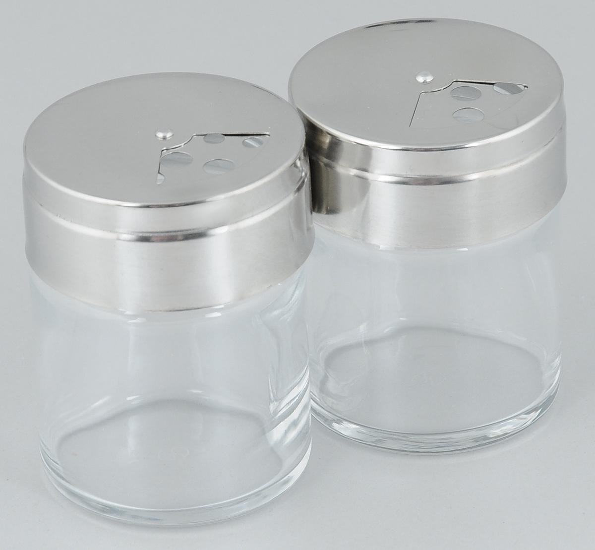 Набор емкостей для специй Pasabahce Basic, 115 мл, 2 шт43880BНабор Pasabahce Basic состоит из двух емкостей для специй, изготовленных из прозрачного стекла, что позволяет видеть количество содержимого в емкости. Изделия оснащены откручивающимися металлическими крышками с отверстиями. Стильная форма этих емкостей привлекает внимание и будет уместна на любой кухне. Размер емкости: 5,5 х 5,5 х 7 см.