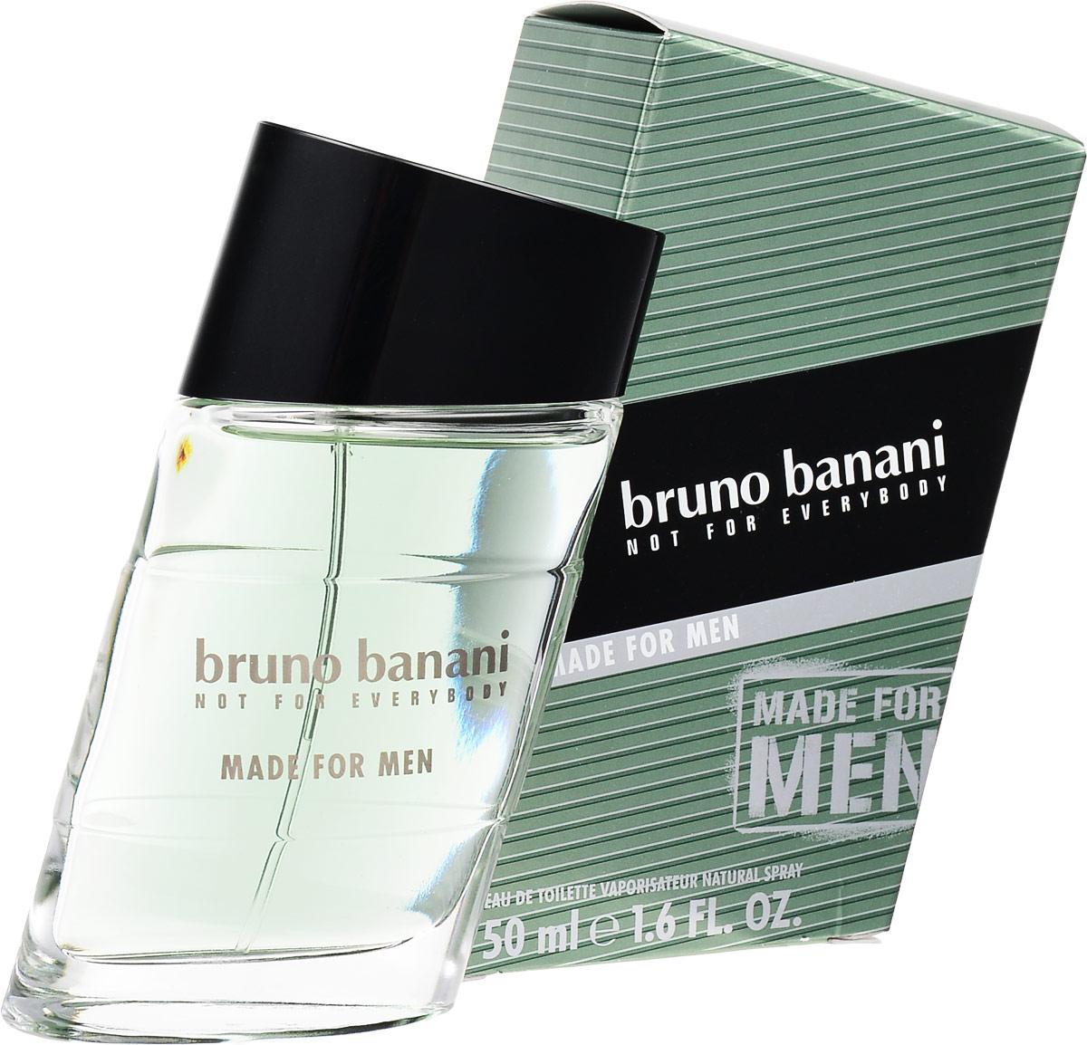Bruno Banani Made For Men Туалетная вода 50 мл (новая упаковка)8005610326870Made for Men - новый мужской аромат от популярного немецкого дома моды Bruno Banani, известного своей экологически чистой продукцией. Аромат создан в 2010 году. Относится к группе ароматов фужерные. Made for Men от Bruno Banani излучает энергию, оптимизм, силу и какой-то оригинальный, незабываемый шарм. Made for Men создан для уверенного в себе соблазнителя-сердцееда. Композиция аромата начинается свежестью нот розмарина, бергамота и зеленого яблока, плавно растворяясь в кристально чистых ароматах: нотах воды и герани. К концу дня композицию дополнит древесно-мускусная база из нот дубового мха, мускуса, виргинского кедра и бобов тонка.