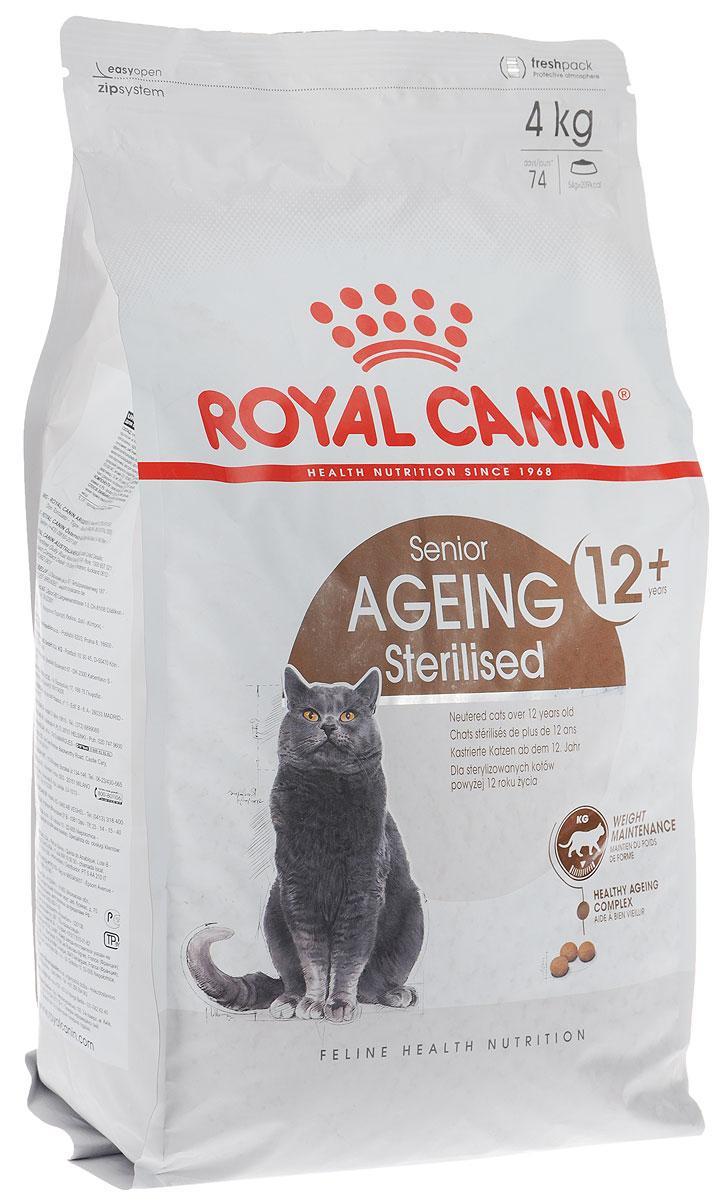 Корм сухой Royal Canin Senior Ageing Sterilised, для стерилизованных кошек старше 12 лет, 4 кг60270Корм Royal Canin Senior Ageing Sterilised - полнорационный сбалансированный сухой корм для стерилизованных стареющих кошек в возрасте старше 12 лет. Физическая активность некоторых стареющих кошек понижается с возрастом, что приводит к избыточному весу. Умеренное содержание жиров в корме способствует поддержанию идеального веса. Запатентованный комплекс антиоксидантов содержит ликопен и жирные кислоты Омега-3, что помогает организму бороться с последствиями старения. Корм также помогает поддерживать здоровье почек благодаря умеренному содержанию фосфора. Товар сертифицирован.