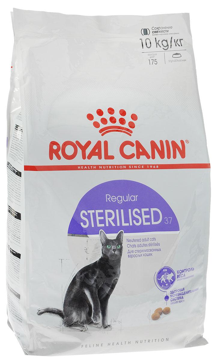 Корм сухой Royal Canin Sterilised 37, для взрослых стерилизованных кошек, 10 кг496100-496810Полнорационный сухой корм Royal Canin Sterilised 37 подходит стерилизованным кошкам в возрасте от 1 до 7 лет. Корм Sterilised 37 ограничивает риск набора избыточной массы тела стерилизованной кошкой благодаря умеренному содержанию жиров (12%). L-карнитин способствует активной утилизации жиров. Повышенное содержание белков высокой биологической ценности в корме способствует поддержанию мышечной массы и тонуса мышц стерилизованной кошки. Корм способствует регулярному мочеиспусканию и поддерживает необходимый уровень кислотности мочи (pH: 6-6,5) что предотвращает риск возникновения мочекаменной болезни у стерилизованной кошки. Состав: дегидратированные белки животного происхождения (птица), кукуруза, изолят растительных белков, кукурузная клейковина, растительная клетчатка, гидролизат белков животного происхождения, животные жиры, пшеница, рис, свекольный жом, минеральные вещества, дрожжи, рыбий жир, фруктоолигосахариды, соевое масло. ...